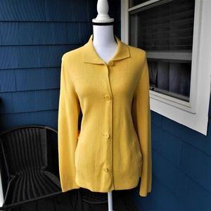 Talbots Yellow Cotton Knit Sweater Jacket